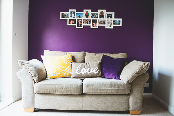 Mustard and purple living room