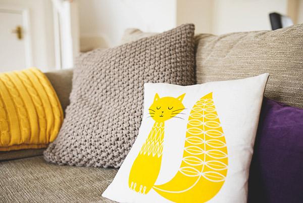 Mustard Cat Cushion