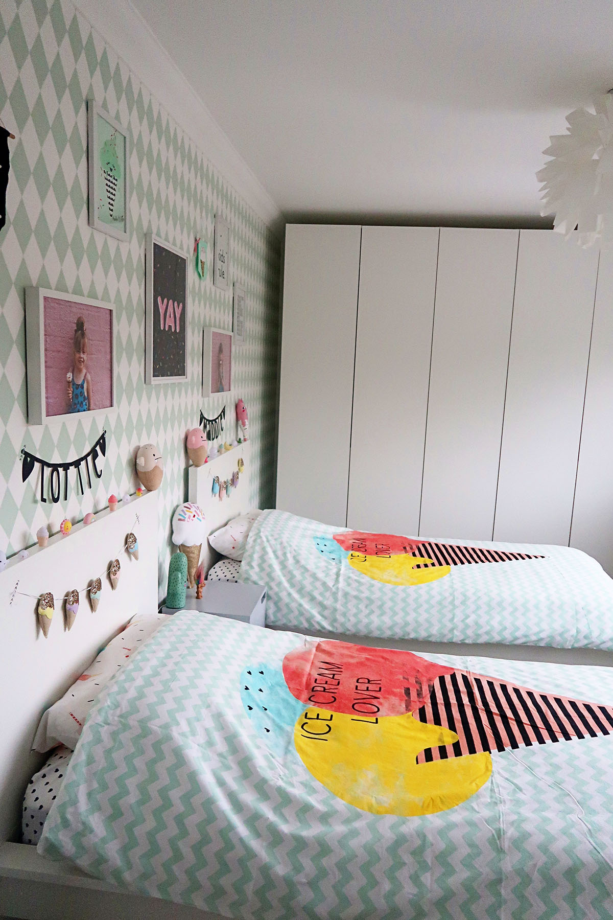 My Girls Shared Bedroom Tour- An Ice Cream themed room {Home Renovation Project #4}